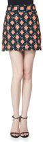 Milly Diamond-Print A-Line Mini Skirt, Multi Colors