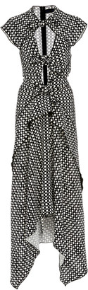 Proenza Schouler Tie-Detailed Cut-Out Printed Crepe Midi Dress