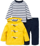 Little Me Baby Boys Three-Piece Toggle Coat, Striped Tee and Pants Set