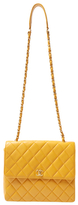 Chanel Vintage Yellow Quilted Caviar Square Flap