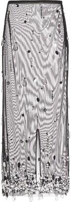 Miu Miu Crystal-Embellished Sheer Tulle Skit
