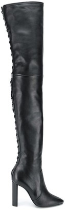 Saint Laurent Tight-High Laced Boots