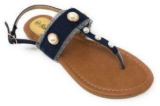 Forever Young Victoria K Women's Fringed Denim With Pearl Studs Sandals