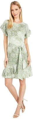 MICHAEL Michael Kors Paisley Ruffle Wrap Dress (Army Green) Women's Dress