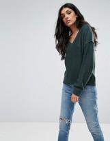 Noisy May Tall V Neck Sweater With Sleeve Detail
