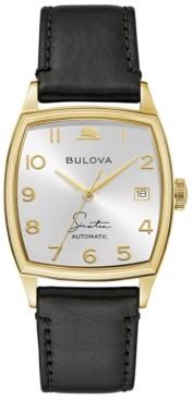 Bulova Men's Frank Sinatra Automatic Black Leather Strap Watch 45x33.5mm