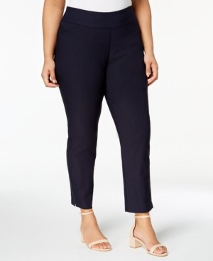Charter Club Plus Size Cambridge Tummy-Control Pull-On Pants Short-Length, Created for Macy's