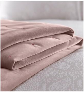 Karen Millen Velvet Quilted Throw -Blush