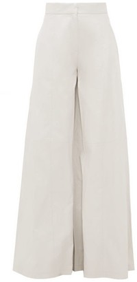 Vika Gazinskaya Faux-leather Wide-leg Trousers - Light Blue