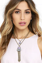 LuLu*s Go Bright Ahead Gold and Purple Layered Necklace