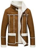 Jinmen Men's Real Fur Suede Coat Jacket & Lamb Wool Lining (Meduim, )