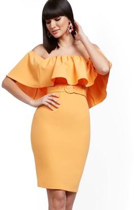 New York & Co. Flounced Off-The-Shoulder Sheath Dress