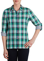 Allison Daley Long Roll-Tab Sleeve Plaid Button-Front Blouse