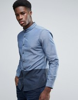 Esprit Grandad Collar Shirt with Contrast Color Block Hem