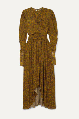 Isabel Marant Jucienne Gathered Leopard-print Stretch-knit Dress - Yellow