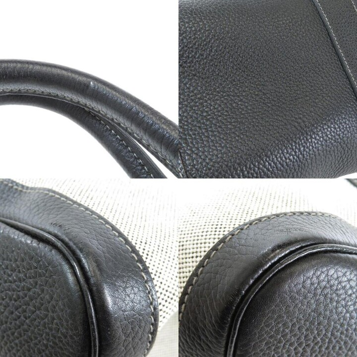 Thumbnail for your product : Hermes Black/Off White Toile and Negonda Leather Garden Party Bag