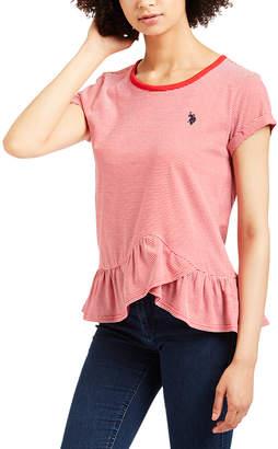 U.S. Polo Assn. Women's Tee Shirts RACING - Red Stripe Ruffle-Hem Cap-Sleeve Tee - Women