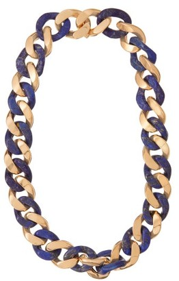 Bottega Veneta Lapis And Gold-plated Sterling Silver Necklace - Blue