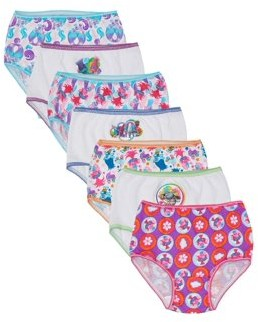 Trolls Toddler Girls Underwear, 7-Pack 100% Combed Cotton Panties