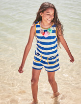 Towelling Playsuit Pink Fizz/Ivory Stripe Girls Boden