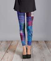 Lily Blue Patchwork Knit Slim-Leg Pants - Plus Too