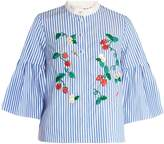 Muveil Strawberry-embroidered striped cotton top