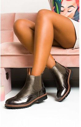 IKRUSH Kene Faux Leather Brogue Chelsea Boots