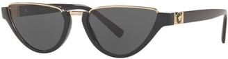 Versace Monochromatic Medusa Head Rectangle Sunglasses