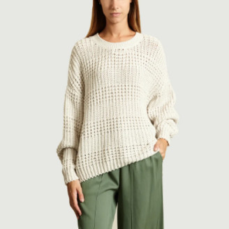 American Vintage Cream Camobird Cotton Blend Pullover Sweater - cotton   cream   unic size - Cream