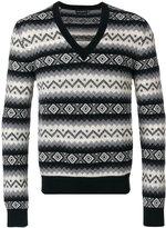 Alexander McQueen patterned V-neck sweater - men - Cashmere - M