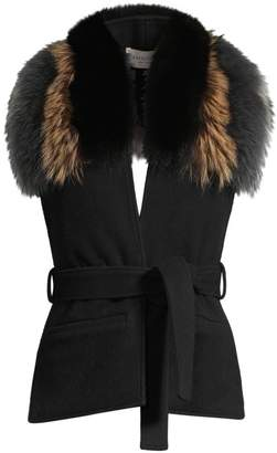 Demarson Margot Fur Collar Wool Vest