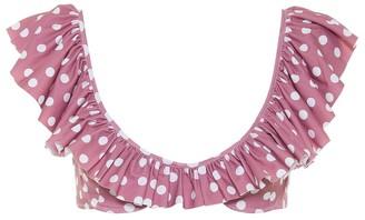 Caroline Constas Ruffled polka-dot bikini top