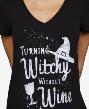 A Pea in the Pod Turning Witchy Without Wine Maternity Halloween Graphic Tee