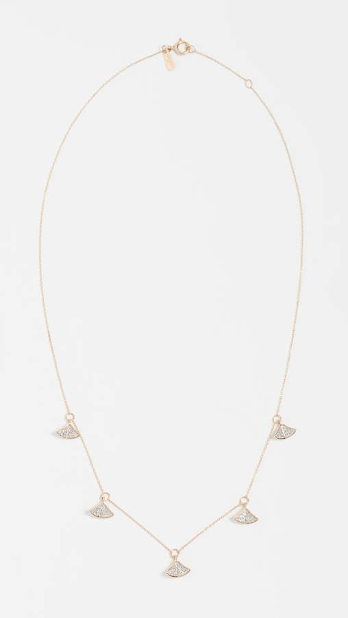 Adina 14k Gold Pave Folded Fan Necklace