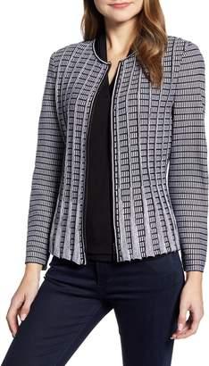 Ming Wang Patterned Peplum Zip Jacket