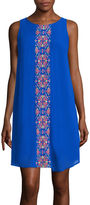 My Michelle Sleeveless Embroidered Panel Shift Dress