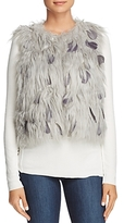 Elie Tahari Lopez Faux Fur and Feather Vest