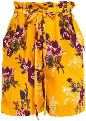 Walter Baker Belted Floral-print Crepe De Chine Shorts