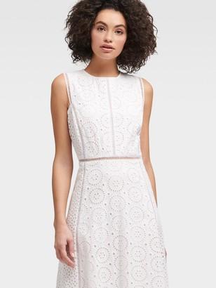 DKNY Women's Sleeveless Eyelet Dress - White - Size 00
