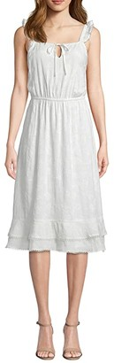 Cupcakes And Cashmere Avalon Floral Embroidered Midi Dress (Marshmallow) Women's Dress