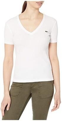 Lacoste Short Sleeve 1X1 Rib Deep V-Neck T-Shirt (White) Women's Clothing
