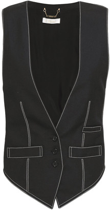 Chloé Paneled Twill And Woven Vest