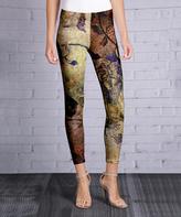 Azalea Gold & Purple Abstract Leggings - Plus Too