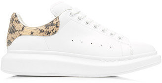 Alexander McQueen Python-Effect Trimmed Leather Sneakers