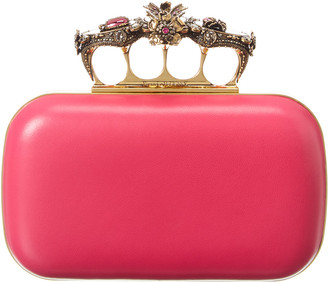 Alexander McQueen Insect Jeweled Four-Ring Leather Clutch