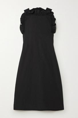 Givenchy Grosgrain-trimmed Gathered Cotton-poplin Mini Dress - Black