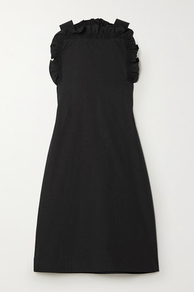 Givenchy Grosgrain-trimmed Gathered Cotton-poplin Mini Dress