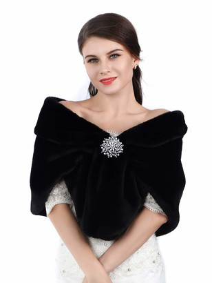 Apricity Sleeveless Faux Fur Shawl Wedding Fur Wraps and Shawls Bridal Fur Stole for Brides and Bridesmaids (Black)