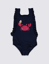 Marks and Spencer Crab Frilled Swimsuit with Lycra® Xtra LifeTM (0-5 Years)