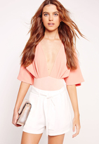 Missguided Tie Waist Crepe Tailored Shorts White